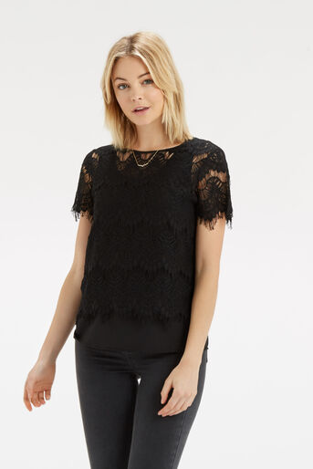 Oasis, Lace Layer T-Shirt Black 1
