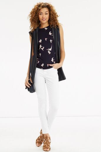 Oasis, Bird Print Lace Trim T-Shirt Navy 2