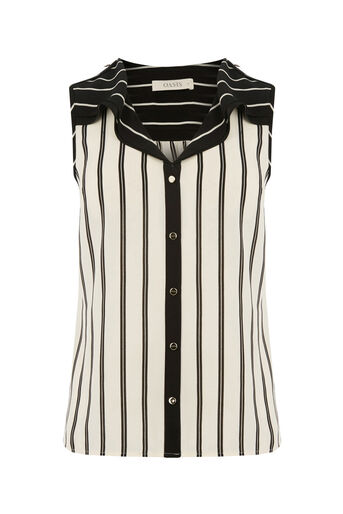 Oasis, STRIPE FRILL SHIRT Black and White 0