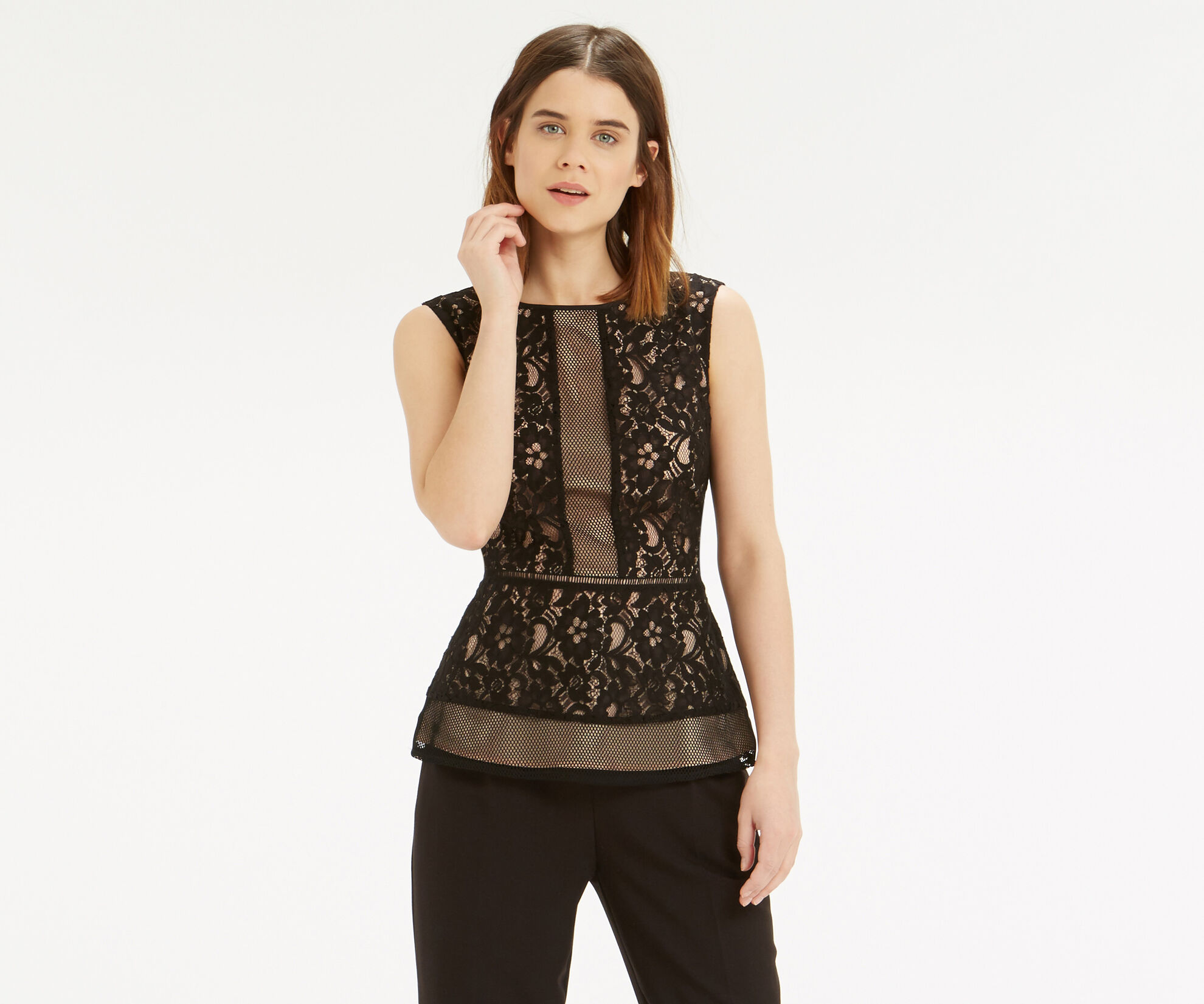 Oasis, Patched Lace Peplum Top Black 1