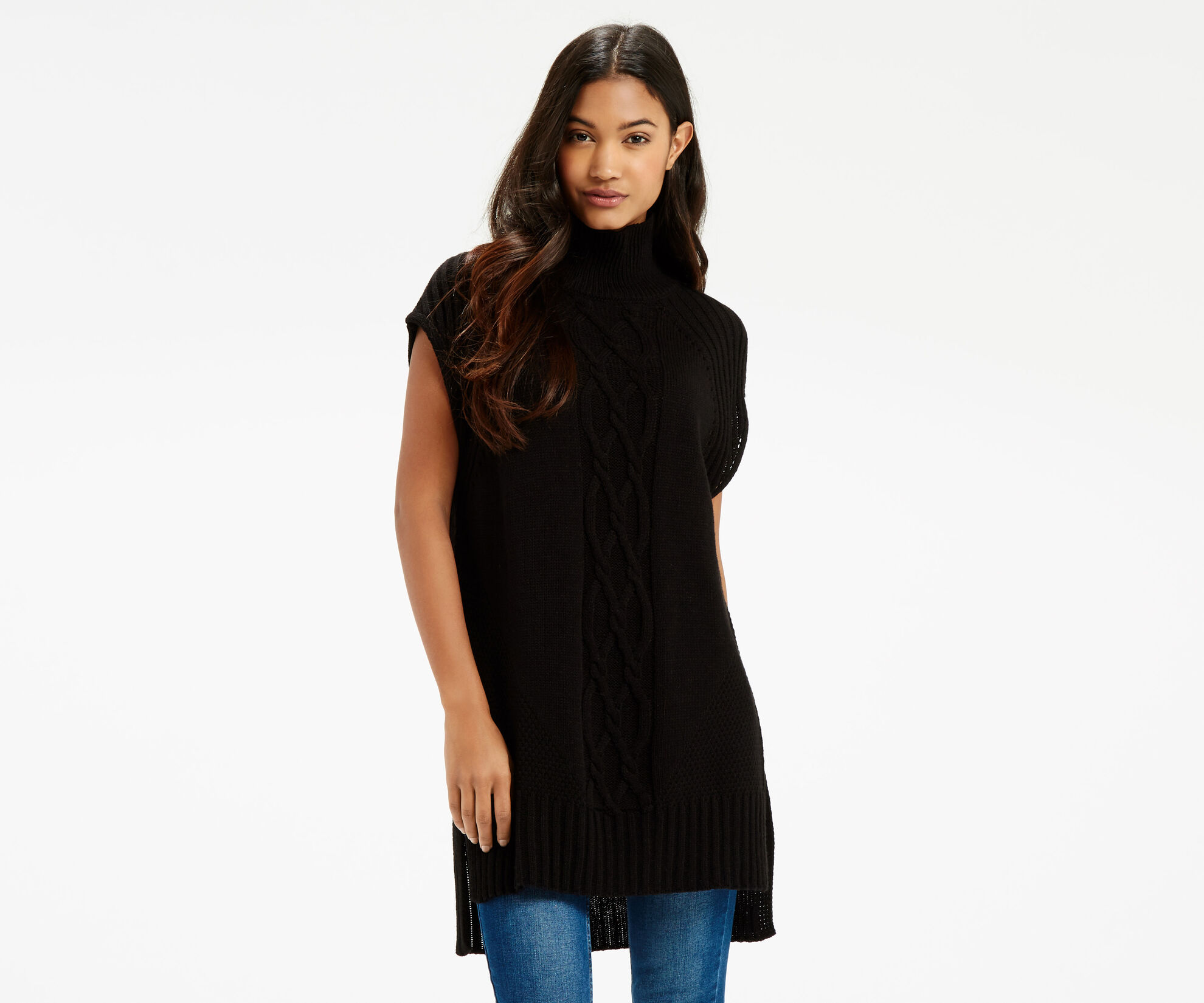 Oasis, Longline Knitted Tunic Black 1