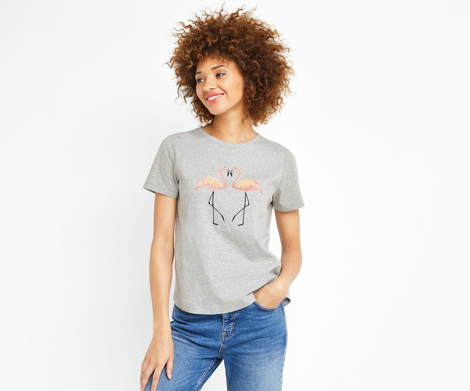 Oasis, KISSING FLAMINGO TEE Pale Grey 1