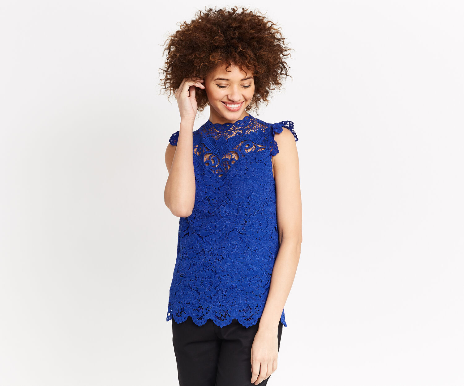 Oasis, LACE HIGH NECK TOP Turquoise 1