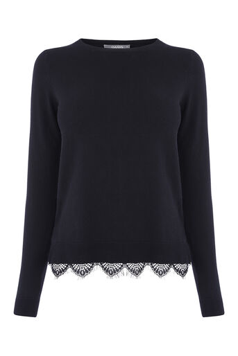 Oasis, LACE HEM JUMPER Black 0