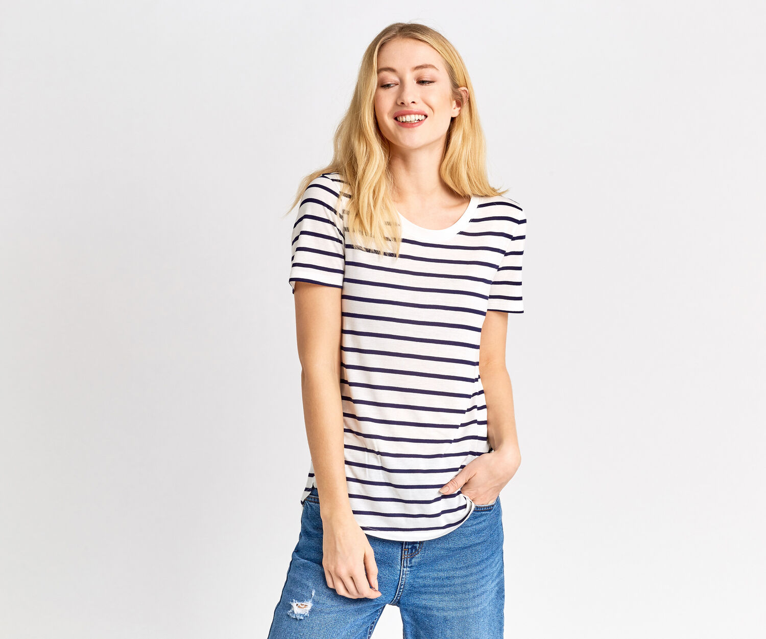 Oasis, STRIPE PERFECT TEE Multi Blue 1