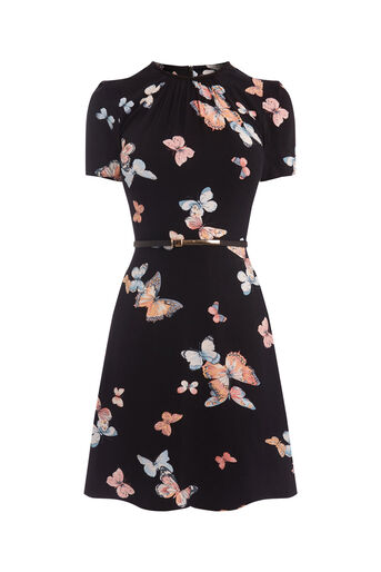 Oasis, BUTTERFLY VISCOSE SKATER DRESS Multi Black 0