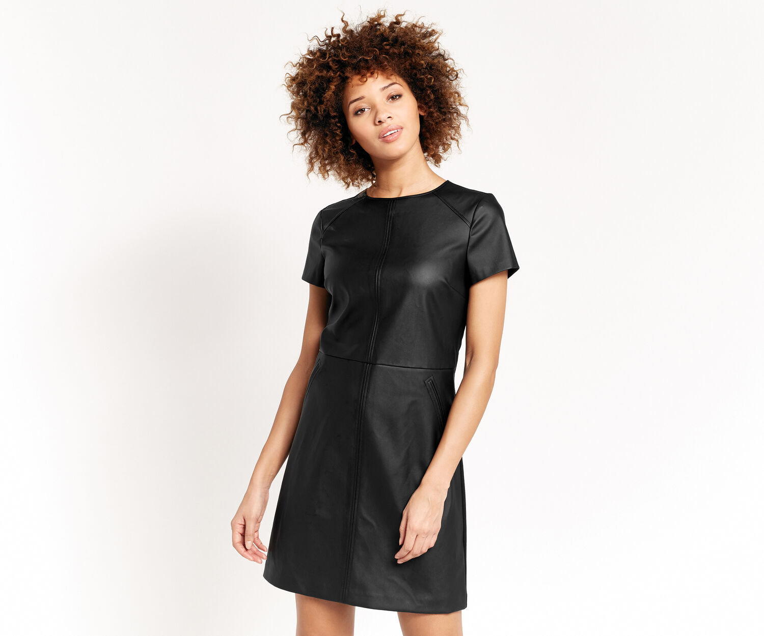 Oasis, FAUX LEATHER SHIFT DRESS Black 1