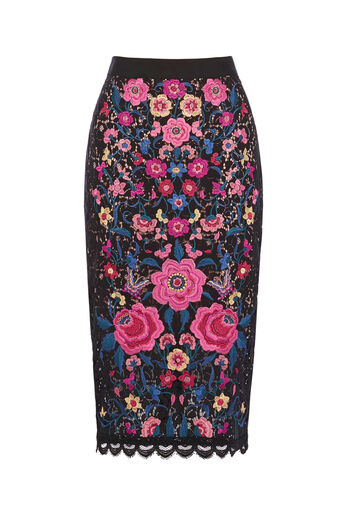 Oasis, EMBROIDERED LACE PENCIL SKIRT Multi Black 0