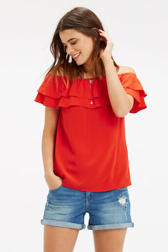 Oasis, Frill Bardot Top Mid Red 1