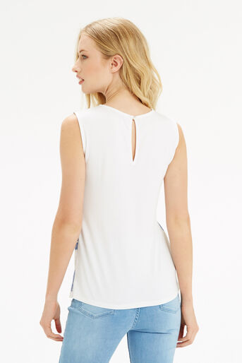 Oasis, Chambray Lace Stripe Shell Off White 3