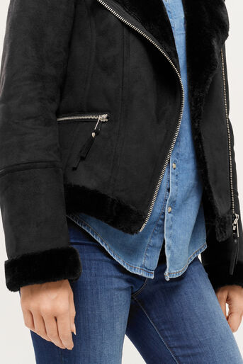 Oasis, FAUX SHEARLING JACKET Black 4