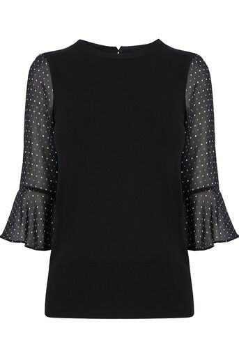 Oasis, FLUTE SLEEVE KNIT Multi Black 0
