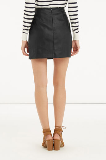 Oasis, FAUX LEATHER SCALLOP SKIRT Black 3
