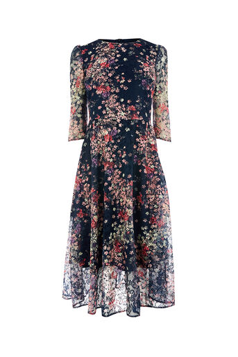 Oasis, MYOKO PRINTED LACE MIDI DRESS Multi Blue 0