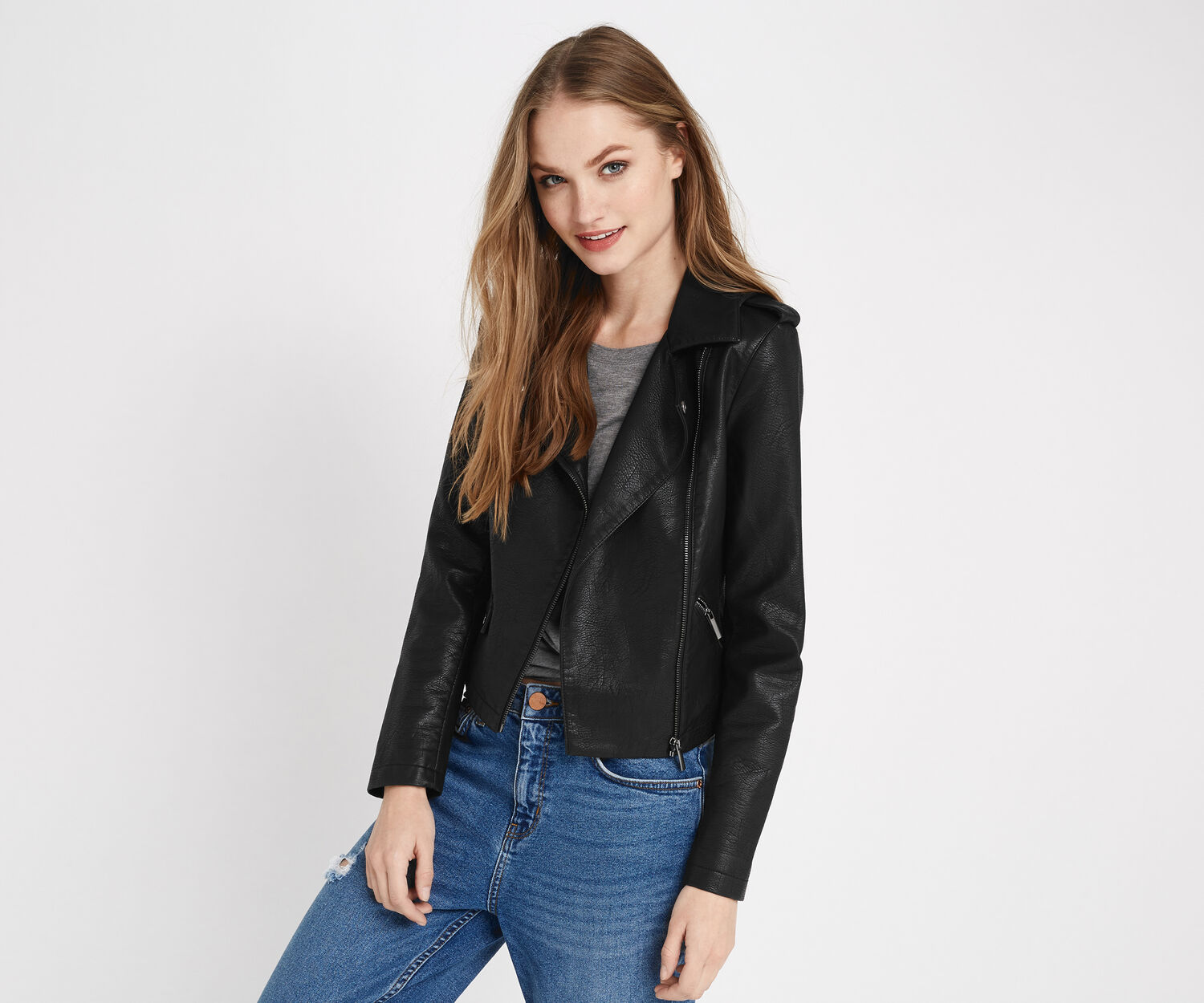 Oasis, FAUX LEATHER BIKER Black 1