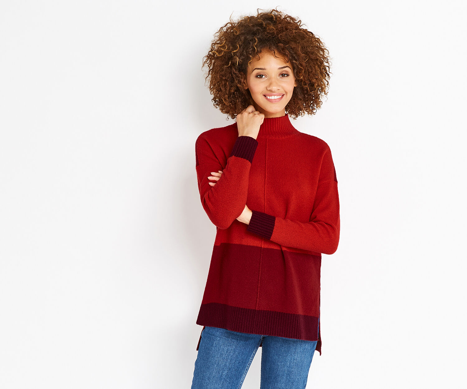 Oasis, FUNNEL NECK COLOURBLOCK KNIT Mid Red 1