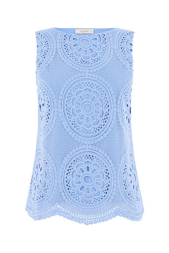 Oasis, DECO LACE SHELL Light Blue 0