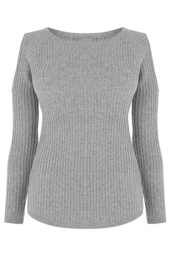Oasis, Cold shoulder relaxed knit Mid Grey 0