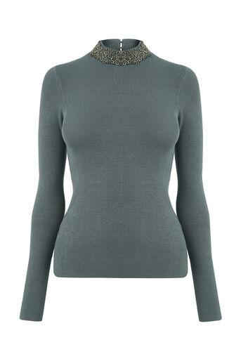 Oasis, Embellished high neck knit Mid Grey 0