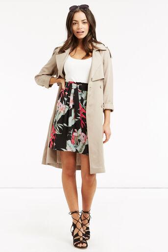 Oasis, Tropical Belted Skirt Multi Black 2