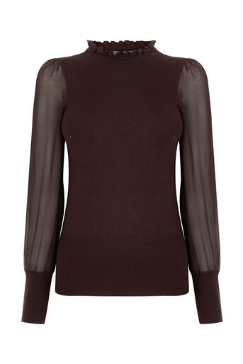 Oasis, SHEER SLEEVE KNIT Burgundy 0