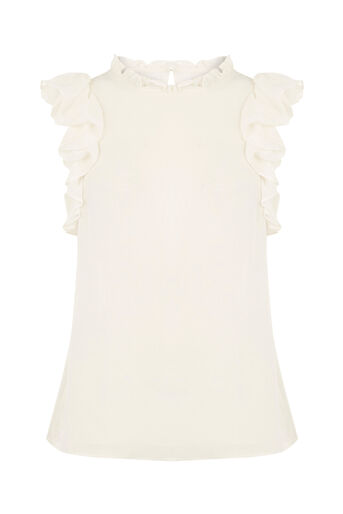 Oasis, Ruffle Sleeveless Shell Top Off White 0