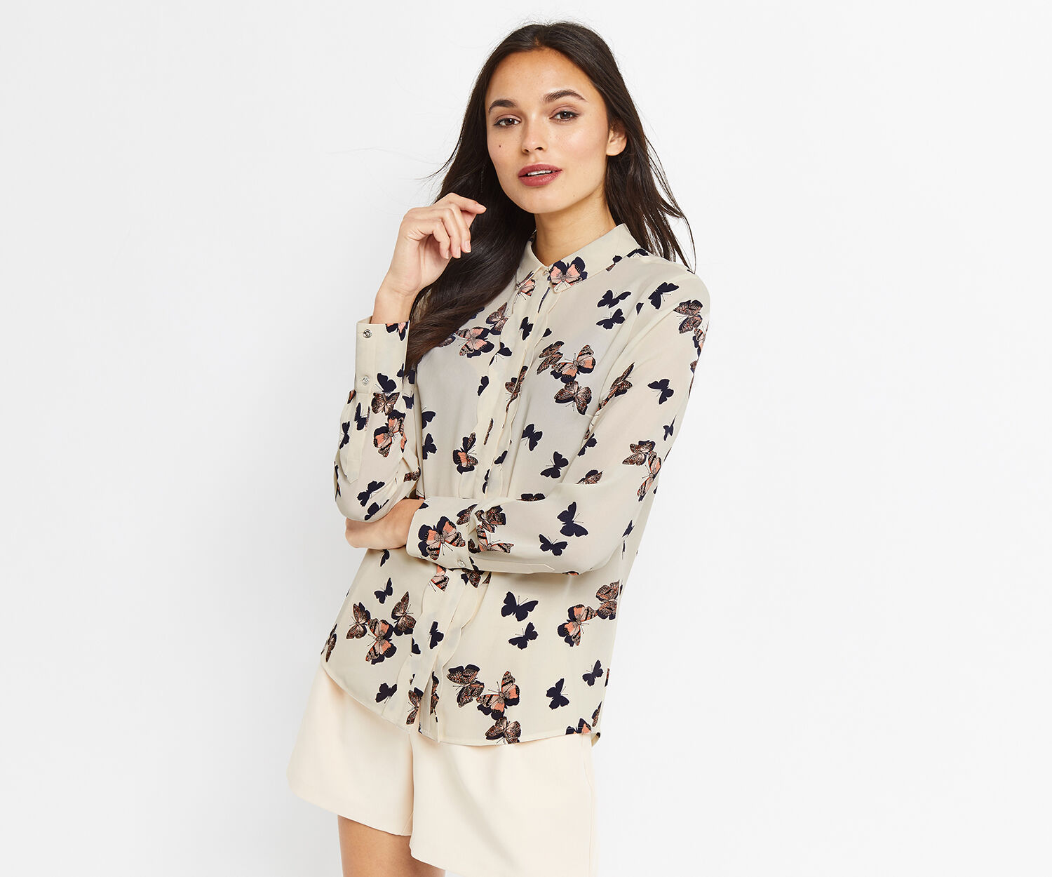 Oasis, BUTTERFLY SCALLOP SHIRT Multi Natural 1