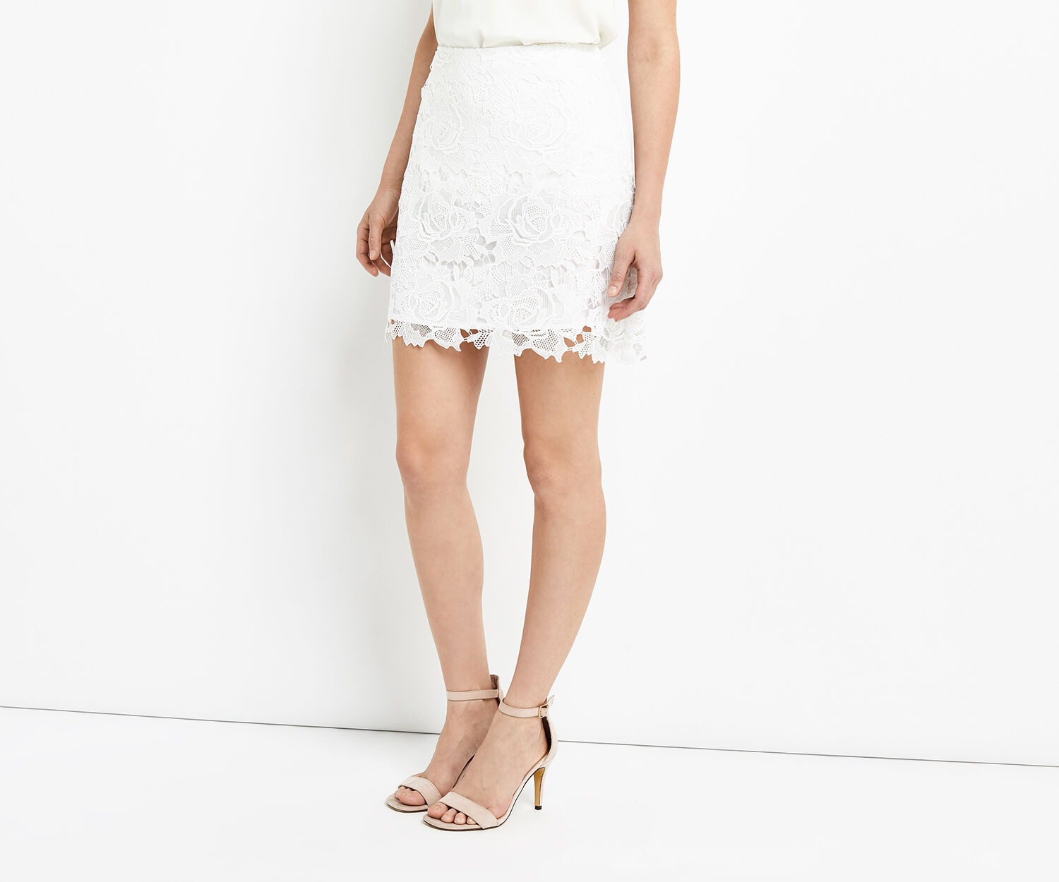 Oasis, ROSE LACE MINI SKIRT White 1