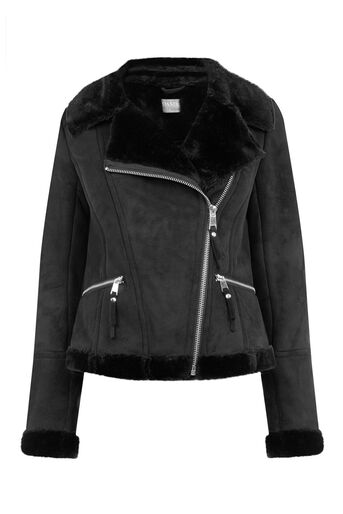 Oasis, FAUX SHEARLING JACKET Black 0