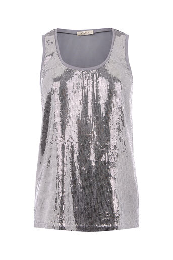 Oasis, SEQUIN VEST Pale Grey 0