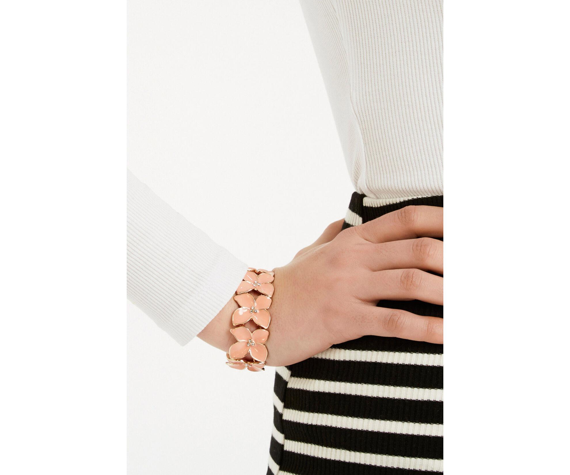 Oasis, Stretch flower bracelet Coral 1