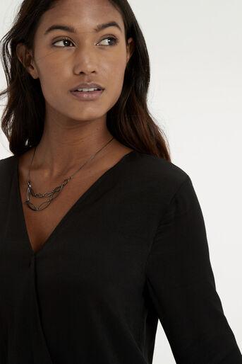 Oasis, Wrap Front V Back Shirt Black 4