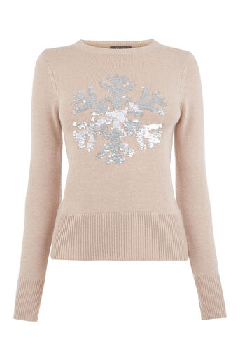 Oasis, Sequin snowflake jumper Pale Pink 0
