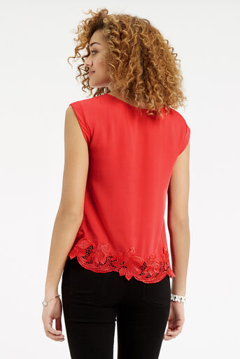 Oasis, Lace Hem T-Shirt Mid Red 3