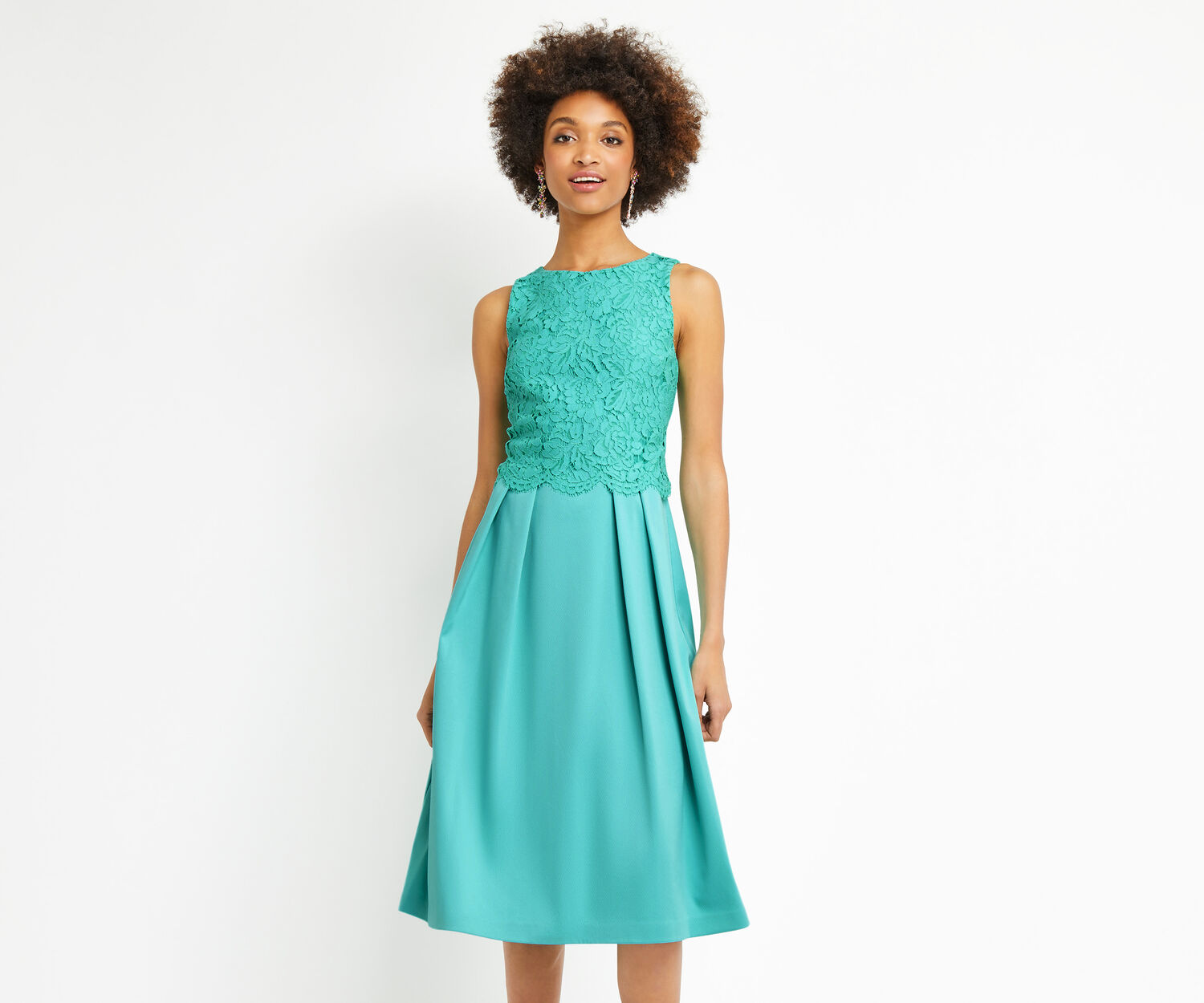 Oasis, LONG LACE BODICE 2 IN 1 MIDI Turquoise 1