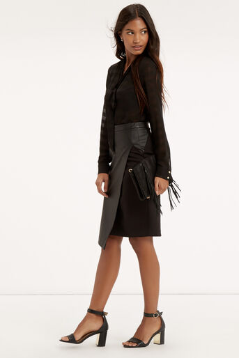 Oasis, Faux Leather Wrap Skirt Black 2