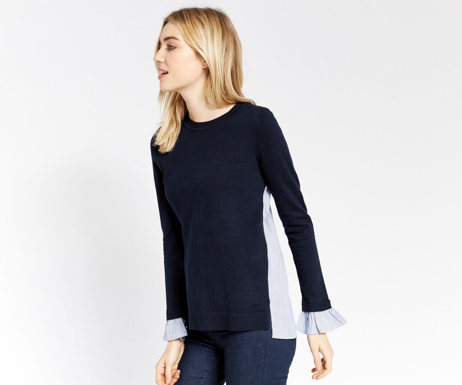 Oasis, SHIRT TAILS SWEATER Navy 1
