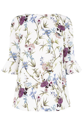 Oasis, FLORAL FLUTE SLEEVE TOP Multi Natural 0