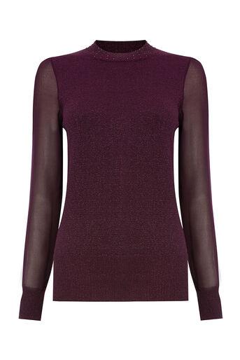 Oasis, Lurex sheer sleeve knit Burgundy 0
