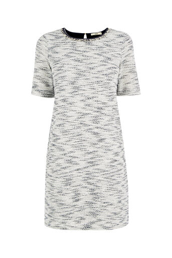 Oasis, Fringed Tweed Dress Navy 0