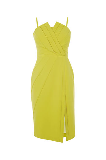 Oasis, STRUCTURED BANDEAU DRESS Lime Green 0