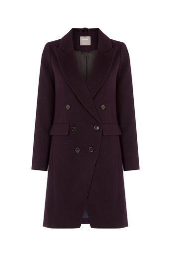 Oasis, LENNOX BUTTON COAT Burgundy 0