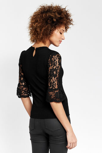 Oasis, Lace fluted sleeve top Black 3