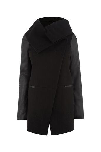 Oasis, LINDSAY DRAPE COAT Black 0