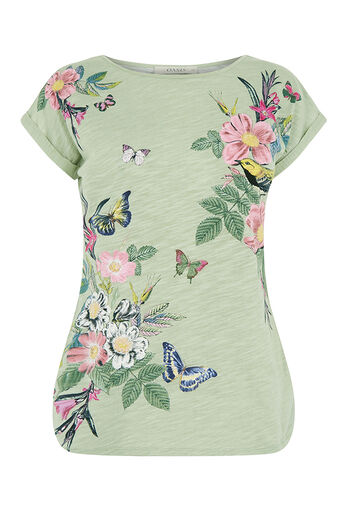 Oasis, FLORAL PLACEMENT PRINT TEE Khaki 0
