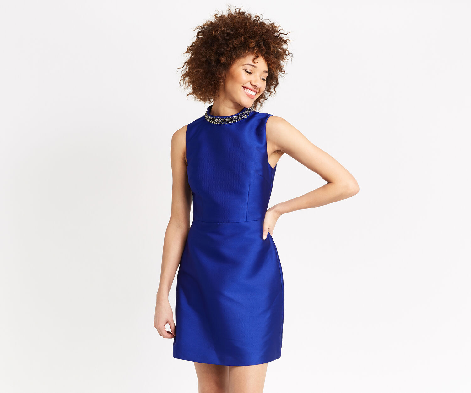 Oasis, SATIN TWILL EMBELLISHED SHIFT Cobalt Blue 1