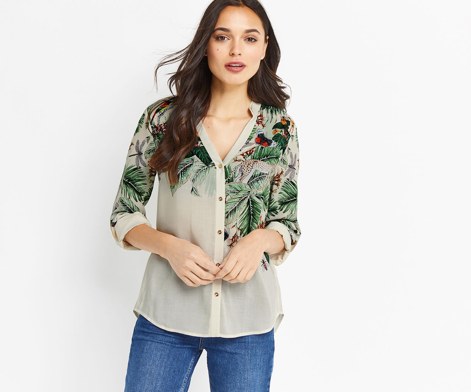 Oasis, ZSL PLACEMENT SHIRT Multi Natural 1
