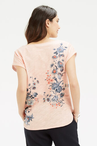 Oasis, Tonal Rose Placement T-Shirt Pale Pink 3