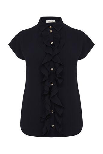 Oasis, Frill Short-Sleeved Shirt Navy 0
