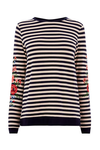 Oasis, STRIPE EMBROIDERED SWEAT Multi 0